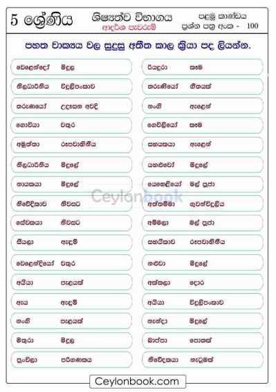 Grade 5 Scholarship Sinhala-Past-Tense-filling-the-verbs Practice Worksheet